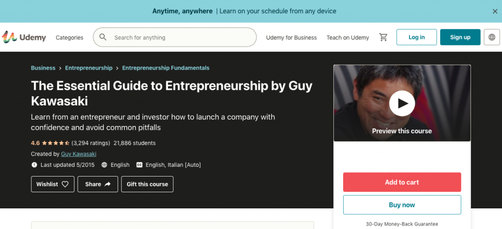 Course of the Week – The Essential Guide to Entrepreneurship by Guy Kawasaki