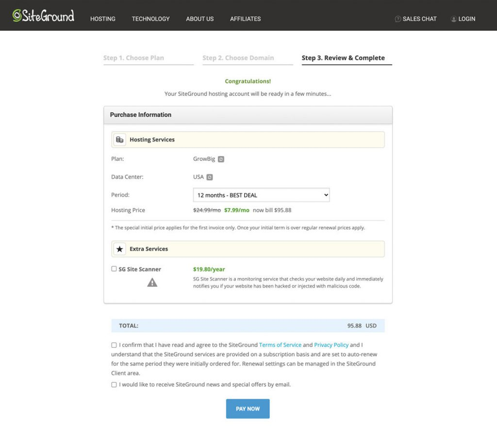 Step 3 - Review and Complete Your Hosting Plan With Siteground
