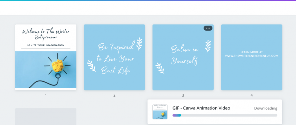 Step 4B - Download Canva Animation